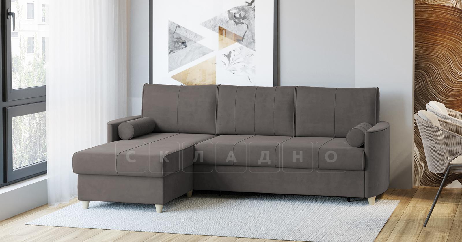 Угловой диван Лорен серо-коричневый фото 2   интернет-магазин Складно