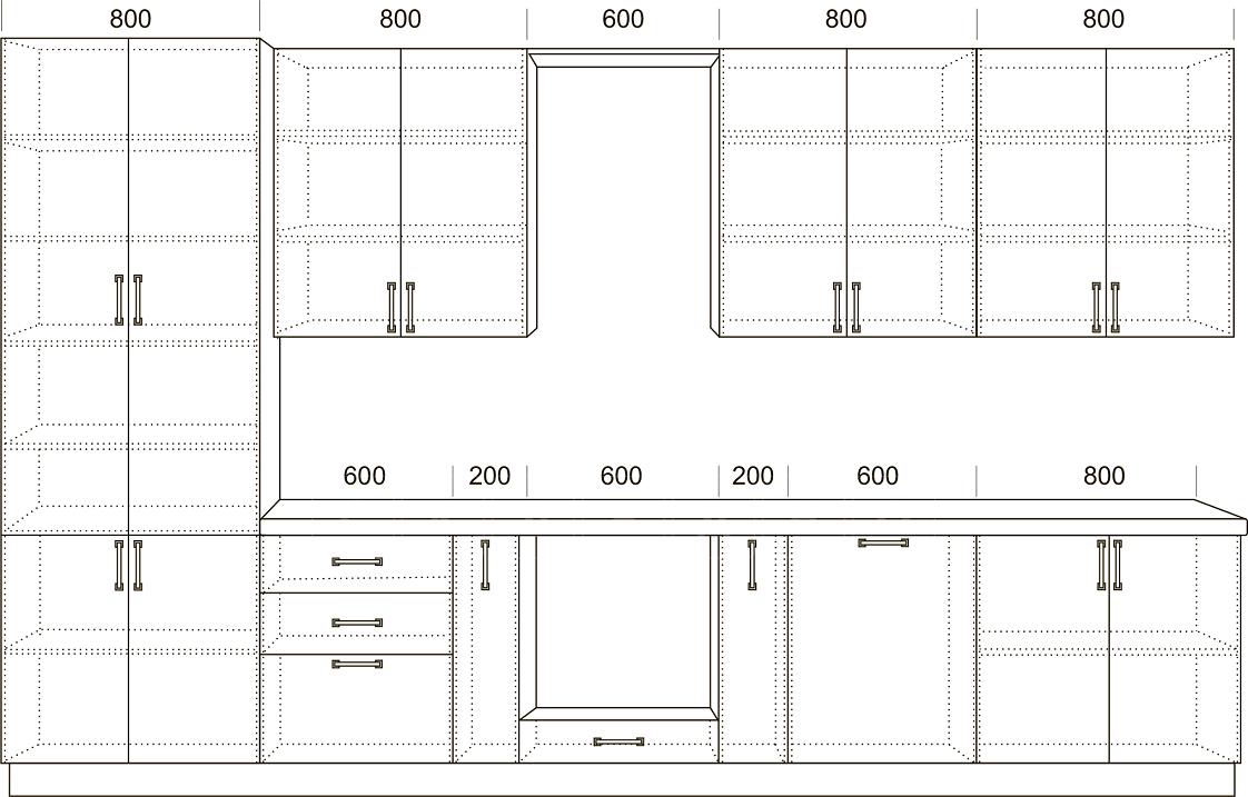 Кухонный гарнитур Массив-Люкс 3800 с буфетом фото 2   интернет-магазин Складно