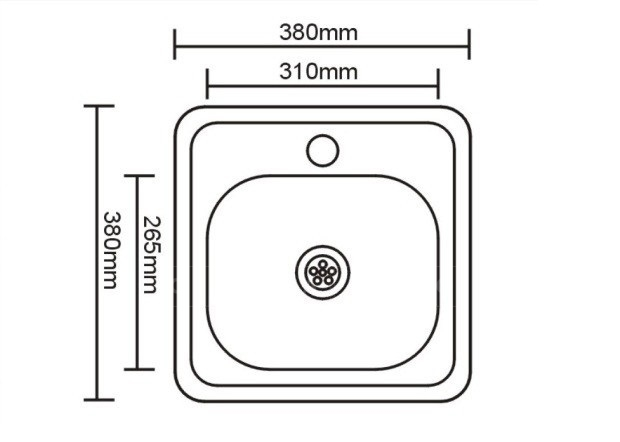 Кухонная мойка врезная металлическая 38х38 см фото 2   интернет-магазин Складно