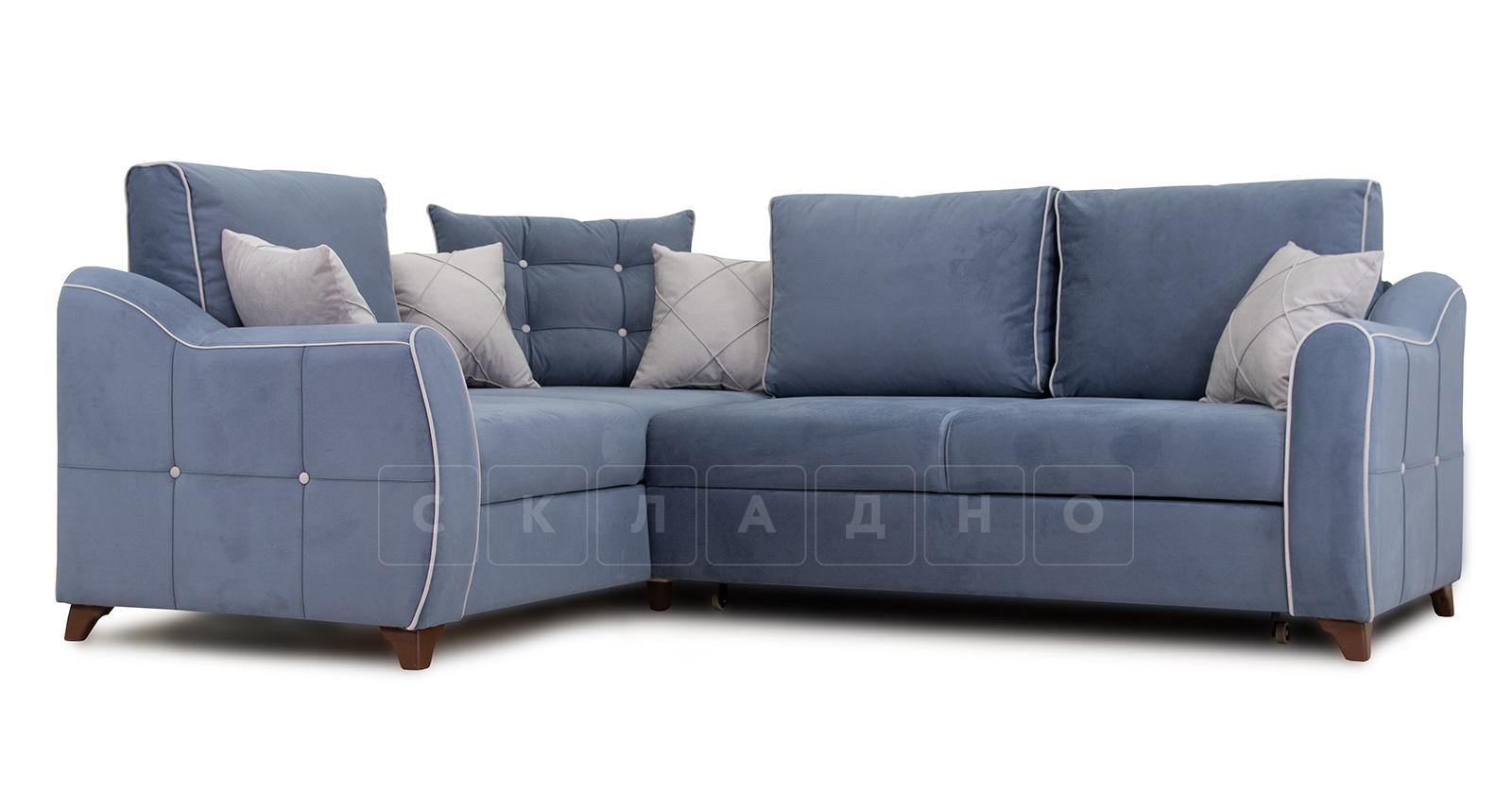 Диван-кровать угловой Флэтфорд серо-синий фото 1 | интернет-магазин Складно