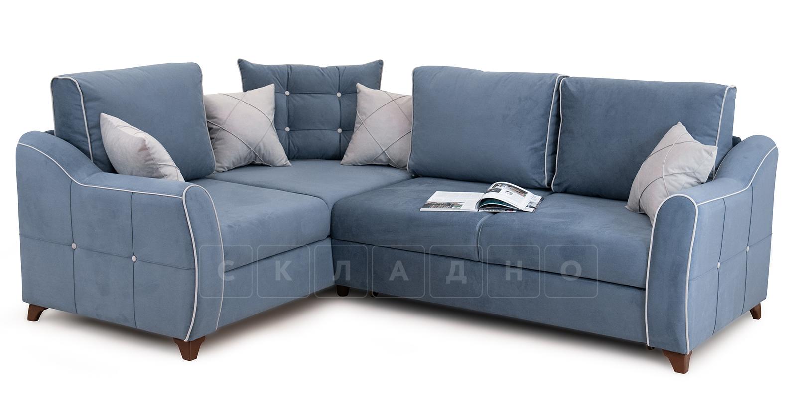 Диван-кровать угловой Флэтфорд серо-синий фото 7 | интернет-магазин Складно